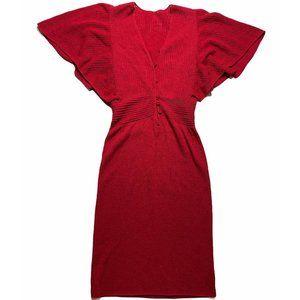 Vintage 80s Flutter Sleeve Dress Knit Sheath Style